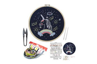 (Unicorn) - Handmade Embroidery Kit Set with Instruction for Beginners -Goodnight Series Needlepoint Kits for Home Decor