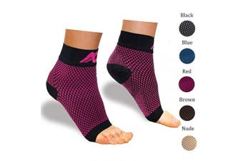 (Medium, Black/Red) - Plantar Fasciitis Socks with Arch Support for Men & Women - Best Compression Socks Foot Sleeve for Aching Feet & Heel Pain Relief