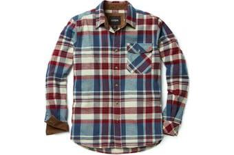 (2X-Large, A-HOF110-VWN) - CQR Men's Flannel Long Sleeved Button-Up Plaid 100% Cotton Brushed Shirt HOF110