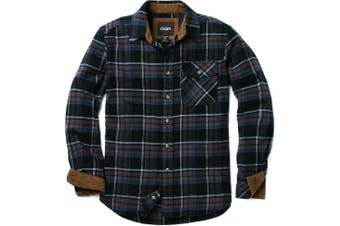 (Large, HOF110-CMN) - CQR Men's Flannel Long Sleeved Button-Up Plaid 100% Cotton Brushed Shirt HOF110