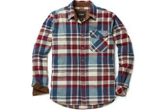 (X-Large, A-HOF110-VWN) - CQR Men's Flannel Long Sleeved Button-Up Plaid 100% Cotton Brushed Shirt HOF110