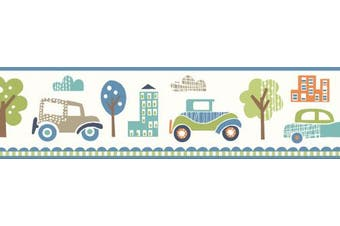 Brewster TOT46342B Gatsby Blue City Scape Trail Border Wallpaper