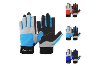 (Large, Blue) - Brace Master Sailing Gloves Men Women for Sailing, Fishing, Boating, Kayaking, Surfing, Canoe Padding, Dinghy and Water Sports, Leather in Palm to Enhance Gripping