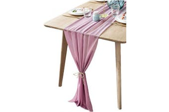 (Palevioletred) - BOXAN Mauve Sheer Table Runne/Overlay Decorative Rustic Wrinkle Resistant for Romantic French Chic Wedding Party, Bridal Shower Baby Shower Table Decoration 80cm x 300cm