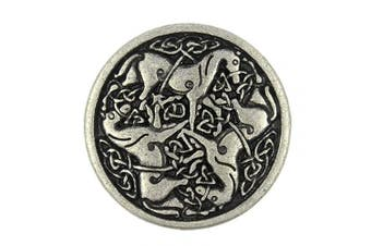 (Antique Silver) - Bezelry 10 Pieces Celtic Horses Metal Shank Buttons. 25mm (1 inch) (Antique Silver)