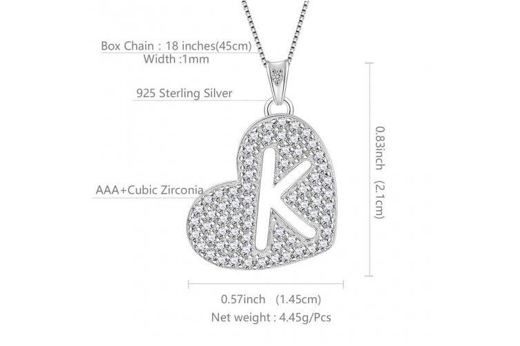 (K) - Aurora Tears Love Heart 26 Alphabet Necklace 925 Sterling Sliver Letter Initial A-Z Alphabet Pendant with Cubic Zirconia Jewellery Gifts for Women DP0110