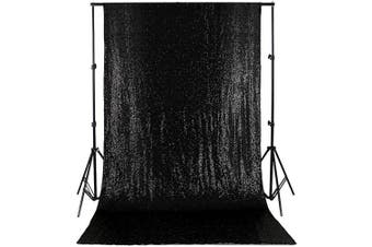 (4ftx2.4m, Black) - Sequin Backdrop 1.2m X 2.4m Sequin Curtain Backdrop Photo Booth Backdrop Black Glitter Backdrop for Party Backdrop Panels for Wedding