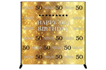 (G-50th) - Mehofoto Happy 50th Birthday Backdrop Gold Silver Step and Repeat Birthday Photography Background 1.8m x 1.8m Vinyl 50th Birthday Party Banner, Party Decoration