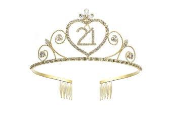 Coucoland Crystal Birthday Crown Tiara Rhinestone Princess Birthday Crown Gold Happy 10th/15th/16th/18th/20th/21st/22nd/30th/50th/60th/70th/80th/90th Birthday Crown Tiara (21st)