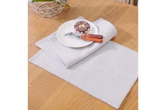 (Placemats 30cm  x 46cm , Light Linen) - NATUS WEAVER Set of 4,Soft Caddice Faux Linen 2 Side Place Mats Heat Resistant Dining Table Place Mats Kitchen Table Mats, Beige