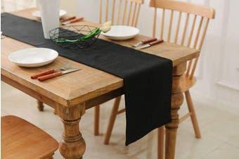 (Table Runner 30cm  x 90cm , Black) - NATUS WEAVER Dinning Table Runner 30cm x 90cm Farmhouse Kitchen Coffee Burlap Table Runner for Holiday Party, Black