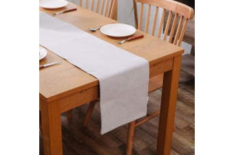 (Table Runner 30cm  x 270cm , Light Linen) - NATUS WEAVER Soft Caddice Faux Linen Table Runner 2 Side for Family Dinners or Gatherings, Indoor or Outdoor Parties, Everyday Use (12 x 108, Seats 8-10 People), Beige
