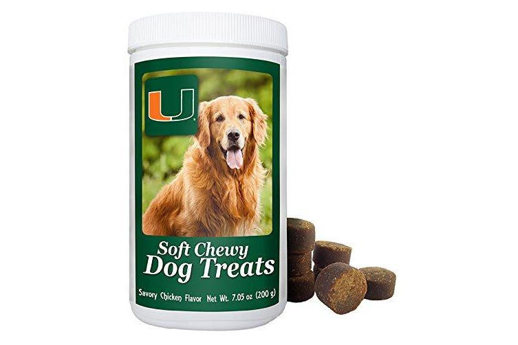 (Miami Hurricanes) - Official NCAA Licence Soft Chewy Dog Treats - 210ml - Approx 100 Treats