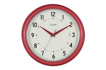 (Red) - La Crosse Technology 404-2624R 24cm Round Red Retro Diner Analogue Wall Clock