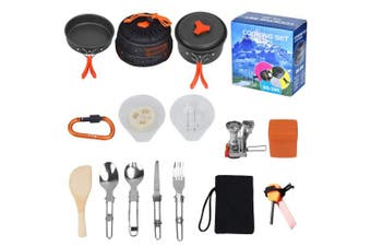 Queta Camping Equipment, Outdoor Camping Pots And Pans Set 17PCS Camping Cookware Stove Carabiner Folding Spork Set Outdoor Camping Hiking Backpacking Non-Stick Cooking Picnic Knife Spoon
