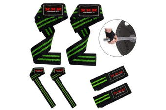 (Black-green) - ZOR Power Hand Bar Straps Weight Lifting Straps Cotton Webbing Wrist Wraps Strengthen Training Workout Exercise Fitness Straps