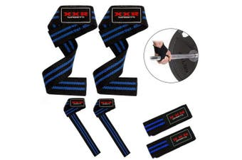 (Black-Blue) - ZOR Power Hand Bar Straps Weight Lifting Straps Cotton Webbing Wrist Wraps Strengthen Training Workout Exercise Fitness Straps
