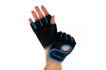 (Blue, M) - Actesso Gym Gloves for Sports – Weight lifting Men & Women, Rowing Exercise, CrossFit Training.