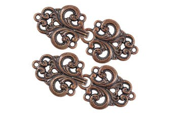 (Antique Copper) - Bezelry 4 Pairs Swirl Flower Cape or Cloak Clasp Fasteners. 65mm x 28mm Fastened. Sew On Hooks and Eyes Cardigan Clip (Antique Copper)