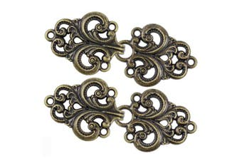 (Antique Brass) - Bezelry 4 Pairs Swirl Flower Cape or Cloak Clasp Fasteners. 65mm x 28mm Fastened. Sew On Hooks and Eyes Cardigan Clip (Antique Brass)