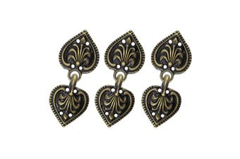 (Antique Brass) - Bezelry 6 Pairs Baroque Spade Hook and Eye Cloak Clasp Fasteners 48mm x 19mm Fastened. (Antique Brass)