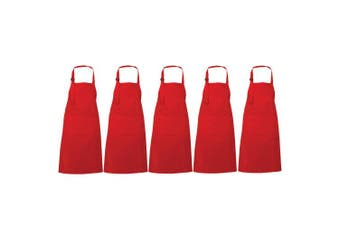 (Red, 5) - Red Aprons for Women - Restaurant BBQ Cook Apron for Cooking Waitress and Chef Aprons - Made with 100% Cotton - Red Apron Set of 5-70 x 90 cm
