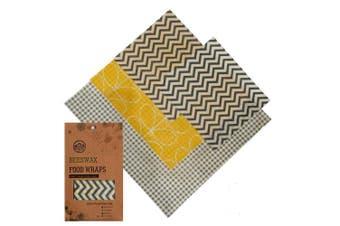 (Yellow/Grey, Small,Small,Medium,Large) - ecoshack Beeswax Wrap | Eco Friendly Zero Waste Reusable Food Wax Wraps | Sustainable Plastic Free Food Storage with E-book (Yellow/Grey)