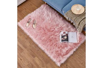 (Pink, 60 X 90 CM) - HEQUN Faux Fur Rug Soft Fluffy Rug, Shaggy Rugs Faux Sheepskin Rugs Floor Carpet for Bedrooms Living Room Kids Rooms Decor (Pink, 60 X 90 cm)