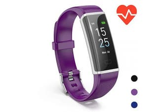 (Purple) - Onesite Fitness Tracker Watch with Heart Rate Monitor, Colour Screen Smart Watch with Sleep Monitor, Step Counter, Calorie Counter, IP68 Waterproof Pedometer Watch for Kids Women Men