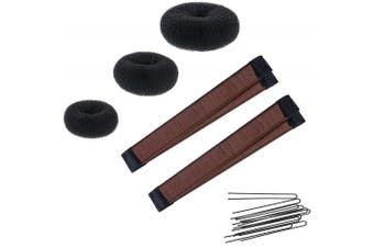 (2 Brown Snap, 3 Donuts) - Women's Hair Bun Maker French Twist Hair Fold Wrap Snap by K-Beauty (2 Brown Snap, 3 Donuts)
