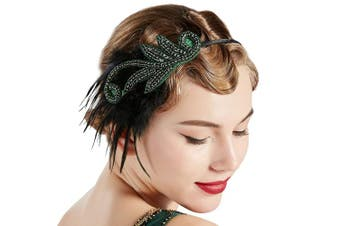 (Green) - BABEYOND 1920s Flapper Headband Accessories Roaring 20s Feather Hair Band Vintage Gatsby Party Accessories (Green)