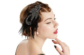 (Silver) - BABEYOND 1920s Flapper Headband Accessories Roaring 20s Feather Hair Band Vintage Gatsby Party Accessories (Silver)