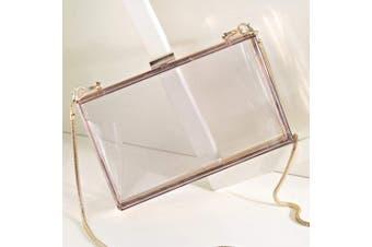 BESTOYARD Box Clutch Transparent Clear Crossbody Handbag Acrylic Evening Bag Chain Purse for Women Girls