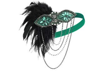 (Green) - Coucoland 1920s Flapper Headband Crystal Black Feather Headpiece Roaring 20s Gatsby Hair Accessories for Women (Green)