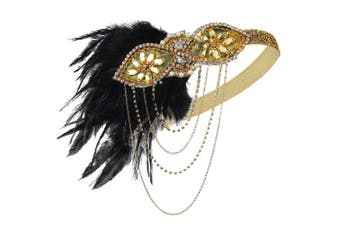 (Gold) - Coucoland 1920s Flapper Headband Crystal Black Feather Headpiece Roaring 20s Gatsby Hair Accessories for Women (Gold)