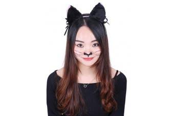 (Ears Only) - HDE Women's Cat Ear Headband Black Fur with Pink Inserts Ribbon Bow and Jingle Ball Neko Cosplay Costume Headwear Accessory