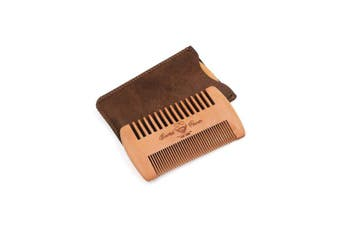 (skull) - beard comb with leather case (skull)