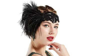 BABEYOND 1920s Flapper Headband Vintage Black Feather Headpiece with Sequin Beads Roaring 20s great Gatsby Hair Accessory for Party (Black)