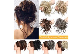(Bleach Blonde) - Messy Hair Bun Chignons Synthetic Hair Extensions Wavy Donut Updo Scrunchy Curly Hairpieces Bleach Blonde