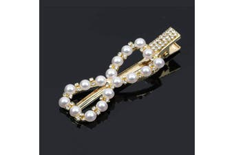 (11) - Rzctukltd Women's Girls Pearl Hair Clip Gold Hairpin Slide Grips Barrette Hair Accessories (11)