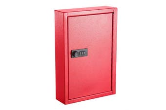 (Red) - AdirOffice Secured 40 Key Cabinet with Combination Lock - Holds 40 Keys (Red)