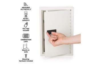 (White) - AdirOffice Secured 40 Key Cabinet with Combination Lock - Holds 40 Keys (White)