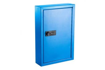 (Blue) - AdirOffice Secured 40 Key Cabinet with Combination Lock - Holds 40 Keys (Blue)