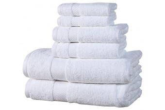 (White) - Affinity Home Collection ESP6PCTWL-WHT 6 Piece Elegance Spa Luxurious Cotton 600 GSM Towel Set, White