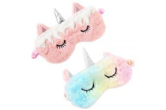 (2Pcs Unicorn) - BUYITNOW Cute 3D Sleep Mask Plush Animal Sleeping Eye Cover for Women Girls Home Sleeping Travelling