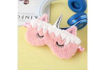 (Pink Unicorn) - BUYITNOW Cute 3D Sleep Mask Plush Animal Sleeping Eye Cover for Women Girls Home Sleeping Travelling