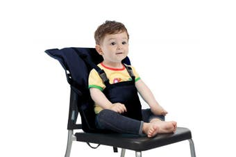 (Blue) - Easy Seat Portable High Chair Safety Washable Cloth Harness Travel High Chair for Infant Toddler Feeding with Adjustable Straps Shoulder Belt (Blue)