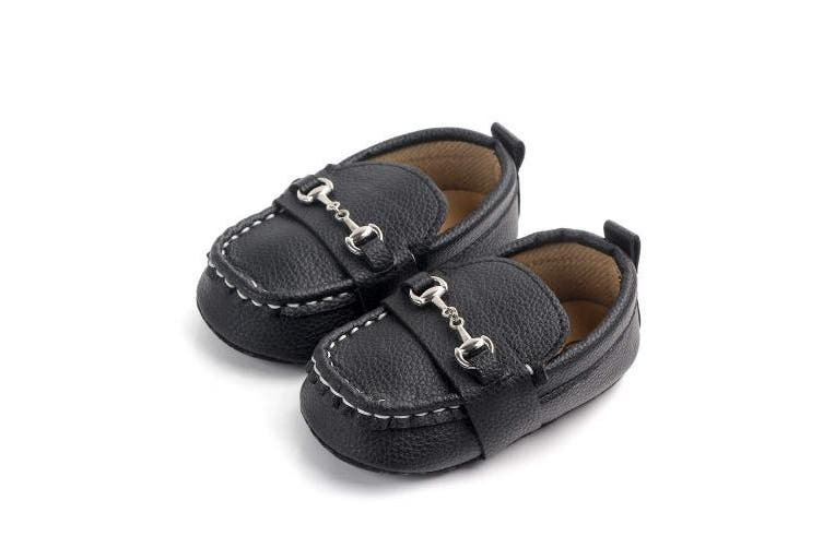 (12-18 Months, Black2) - Lidiano Baby Soft Sole Toddler Loafers Boat Shoes Crib Shoes (12-18 Months, Black2)