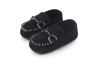 (6-12 Months, Black) - Lidiano Baby Nubuck Vamp Soft Sole Toddler Loafers Boat Shoes Crib Shoes (6-12 Months, Black)
