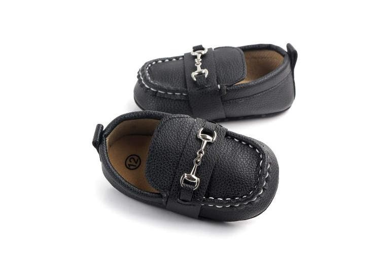 (6-12 Months, Black2) - Lidiano Baby Soft Sole Toddler Loafers Boat Shoes Crib Shoes (6-12 Months, Black2)